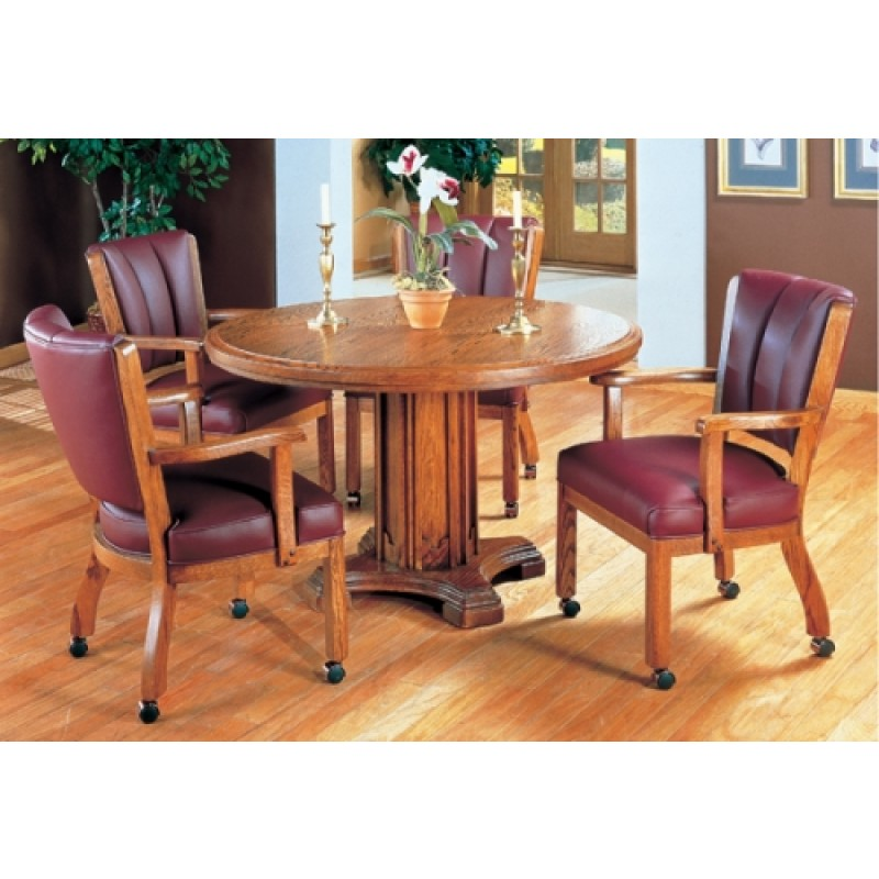 sc 1 st  Dinette Online & I.M. David 5 PC 1109 Caster Chairs with 5217 Pedestal Table Dining Set