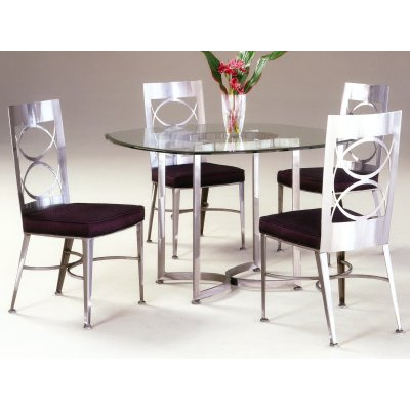 Johnston Casuals Arena Contemporary Dining Set, Table  8633, Glass GL43, Chair  8611