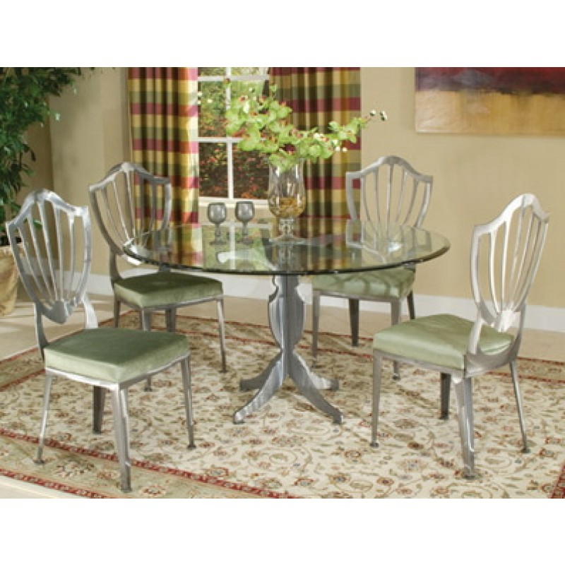 Johnston Casuals Williamsburg Gl Top Dining Set Table 4633b 43 4 Chairs 4611