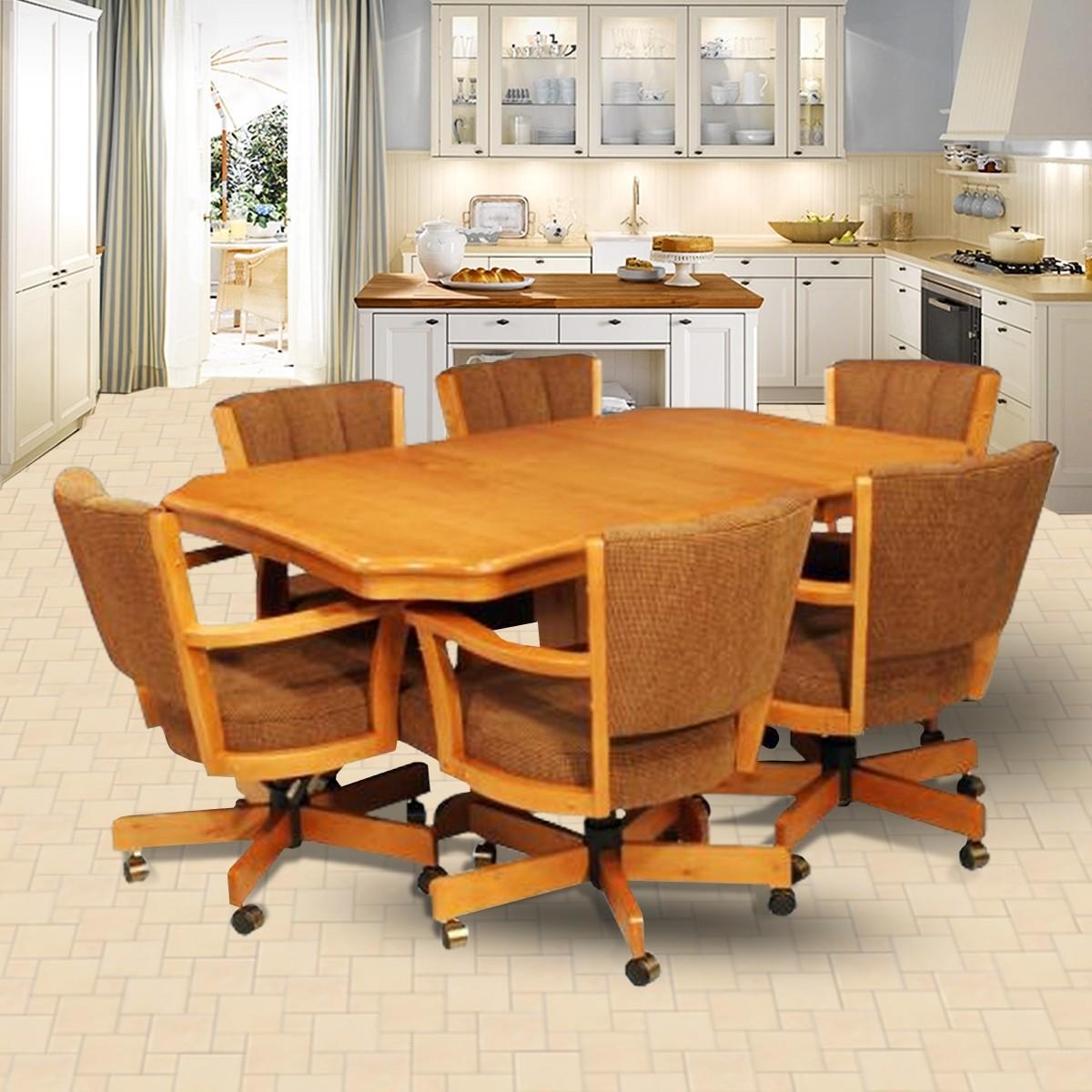 CR Joseph 9105GC Dining Set with Swivel Tilt Caster Chairs & CR Joseph Dining Set with Swivel Tilt Caster Chairs: Wood Dinette Sets