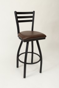 "Commercial Ladder Back 3 Slat Metal Swivel 30"" Bar Stool"