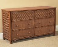 Classic Rattan Monte Carlo 6 Drawer Double Dresser