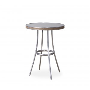 """Lloyd Flanders All Seasons 33"""" Round Bistro Table with Taupe Glass"""