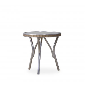 """Lloyd Flanders All Seasons 19"""" Round End Table with Taupe Glass"""