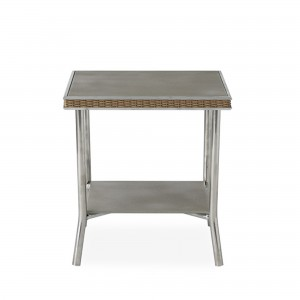 """Lloyd Flanders Visions 20"""" Square End Table with Taupe Glass"""