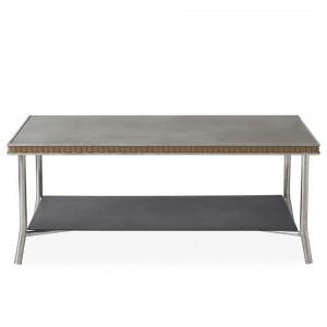 """Lloyd Flanders Visions 42"""" Rectangular Cocktail Table with Taupe Glass"""