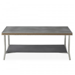 """Lloyd Flanders Visions 42"""" Rectangular Cocktail Table with  Charcoal Glass"""