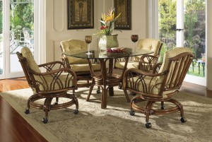 Classic Rattan Orchard Park Swivel Tilt Rocker Dining Set