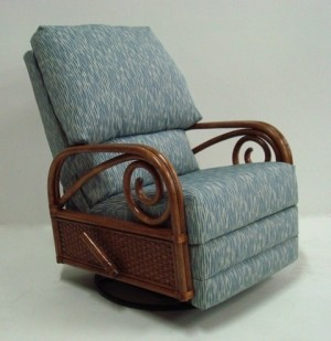Classic Rattan Calani Swivel Rocker Recliner Chair