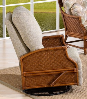 Classic Rattan Edgewater Recliner Swivel Rocker Chair