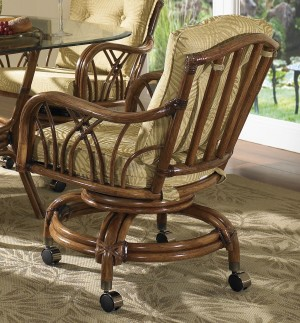 Classic Rattan Orchard Swivel Tilt Rocker Roller Dining Chair