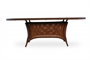 """Lloyd Flanders Grand Traverse 84"""" Oval Umbrella Dining Table with Lay on Glass"""