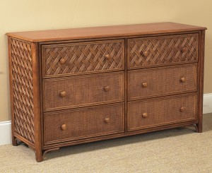 Classic Rattan Monte Carlo 6 Drawer Double Dresser