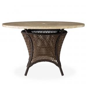 "Lloyd Flanders Grand Traverse 48"" Round Umbrella Dining Table with Light Travertine top"
