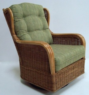 Classic Rattan Bodega Bay Swivel Glider Hi Back Chair