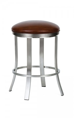 "Wesley Allen Bali Brushed Stainless Steel 30"" Backless Swivel Bar Stool"