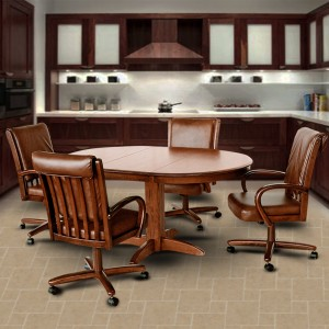 Chromcraft C177-946 and T250-607 Swivel Tilt Caster Solid Wood Dining Set