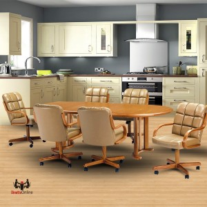Chromcraft C117 936 And T217 77 7PC Swivel Dining Set