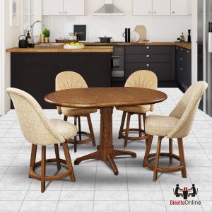 Chromcraft C128-384 and T4242-4236 Counter Height Dining Set