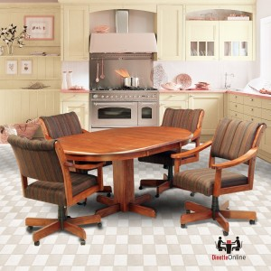 CR Joseph Swivel 5004GC Tilt Casual Dining Set with Casters