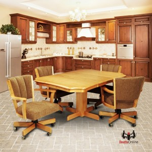 CR Joseph Swivel Tilt Casual Dining Set with Caster Chairs