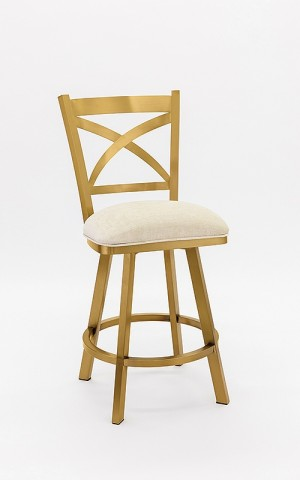 "Wesley Allen Edmonton 30"" Gold Stainless Swivel Bar Stool"