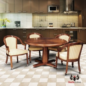 I.M. David 6519 Table & 5407 Caster Chairs 5 PC Dining Set