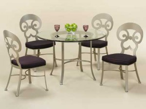 Johnston Casuals Woodlands Dining Set,Table 1033B, GL-43 Glass, 4 Chairs 1011