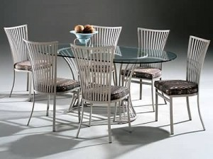 "Johnston Casuals Genesis Oval 42"" x 72""  Glass Dining Table Set, 6 Chairs 2411, Glass G73, Table 2236B"