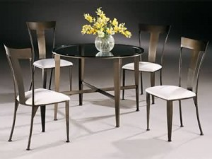 "Johnston Casuals Tribeca Contemporary Dining Set 48"" Glass Top Table 4735, 4 Chairs 4711, Glass Gl 49"