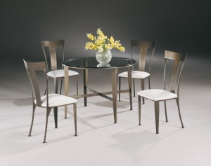 Johnston Casuals Tribecca Contemporary 43GL Glass Top Dining Set, Table  4735, 4  Tribecca Chairs  4711