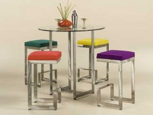 Johnston Casuals 4 Score Contemporary Counter Height Glass TopPub Set, Pub Table  2036, Glass GL43, 4 Bar Stools  2018-26