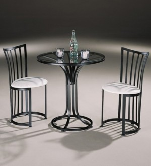 Johnston Casuals Bistro Cafe Set,2 Chairs 102, Glass GL30,Table 130