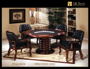 I.M. David Millionaires Collection 8193 Table and 8339 Chair Flip Top Poker Set