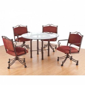 Tempo Like Sonora Swivel Tilt Caster Sonora Glass Top Dinette Set by Callee