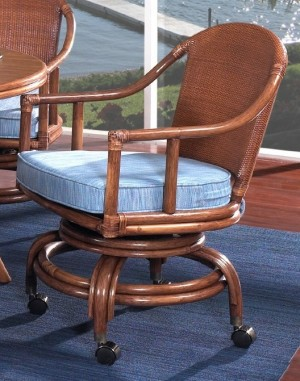 Classic Rattan Mandarin Swivel Tilt Roller Dining Chair