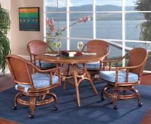 Classic Rattan Mandarin Swivel Tilt Caster Dining Set