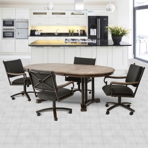 Chromcraft Metalcraft O&S Swivel Caster Dining Set