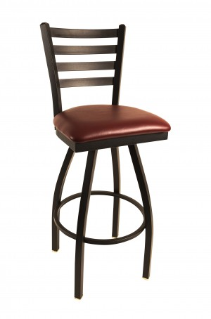 "Commercial Ladder Back Metal Swivel 24"" Bar Stool"
