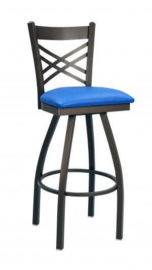 "Commercial Cross Back Metal 30"" Swivel Bar Stool"