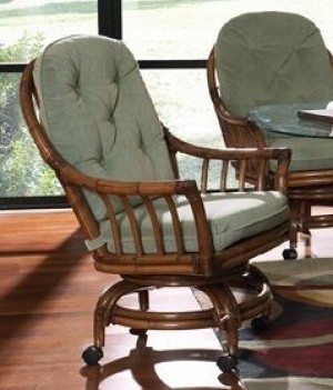 Classic Rattan Walnut Grove Swivel Rocker Dining Chair