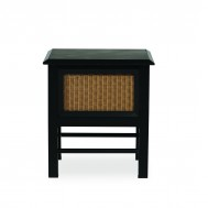 """Lloyd Flanders Southport 18"""" Square End Table w/Set in Glass"""