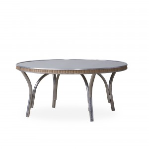 """Lloyd Flanders All Seasons 33"""" Round Cocktail Table with Taupe Glass"""