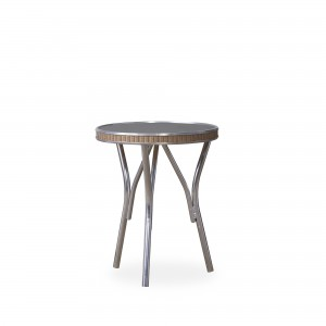 """Lloyd Flanders All Seasons 19"""" Round End Table with Charcoal Glass"""