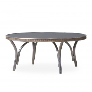 """Lloyd Flanders All Seasons 33"""" Round Cocktail Table with Charcoal Glass"""