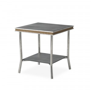 """Lloyd Flanders Visions 20"""" Square End Table with Charcoal Glass"""