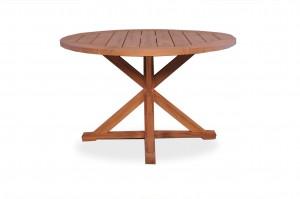 "Lloyd Flanders Universal Teak 48"" Round Dining Table, Cross Base"