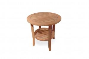 """Lloyd Flanders Universal Teak 24"""" Round End Table w/Shelf"""