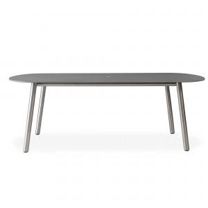 "Lloyd Flanders Elevation 84"" Oval Umbrella Dining Table w/Light Gray Corion Top"