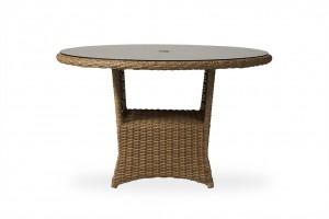"Lloyd Flanders Magnolia 48"" Round Umbrella Dining Table w/Lay on Glass"